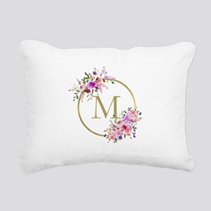 Floral and Gold Monogram Rectangular Canvas Pillow